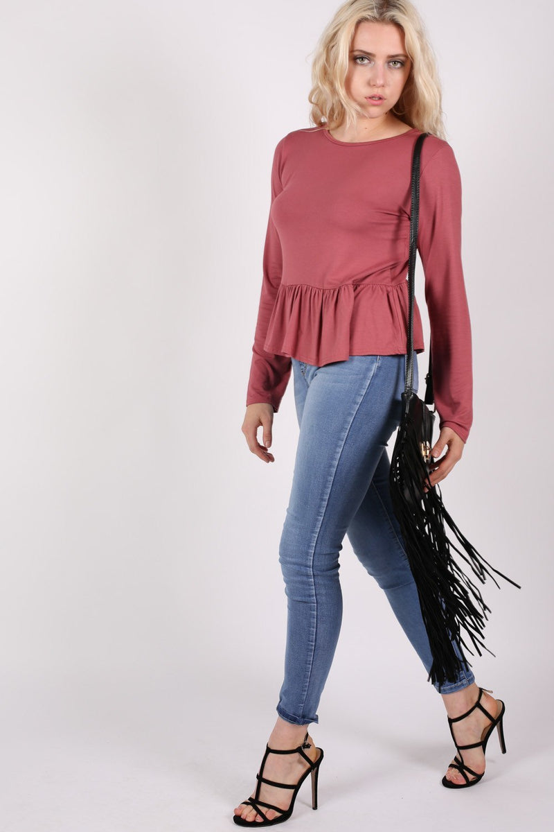 Long Sleeve Frill Hem Top in Brick Red MODEL SIDE 2