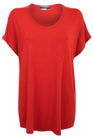 High Low Hem Plain Oversized Top in Rust Orange 2