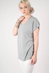 Oversized High Low Hem Top in Grey 0