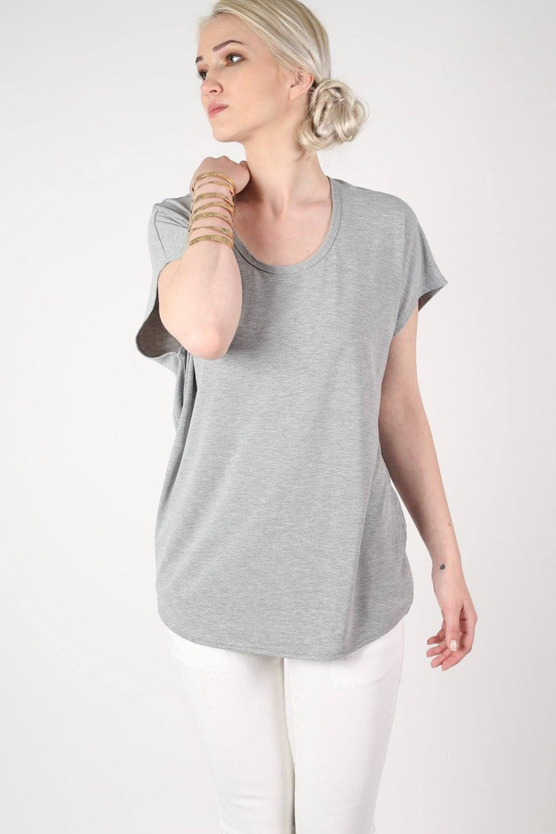 Oversized High Low Hem Top in Grey 1