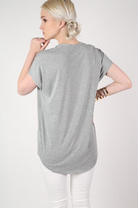 Oversized High Low Hem Top in Grey 3