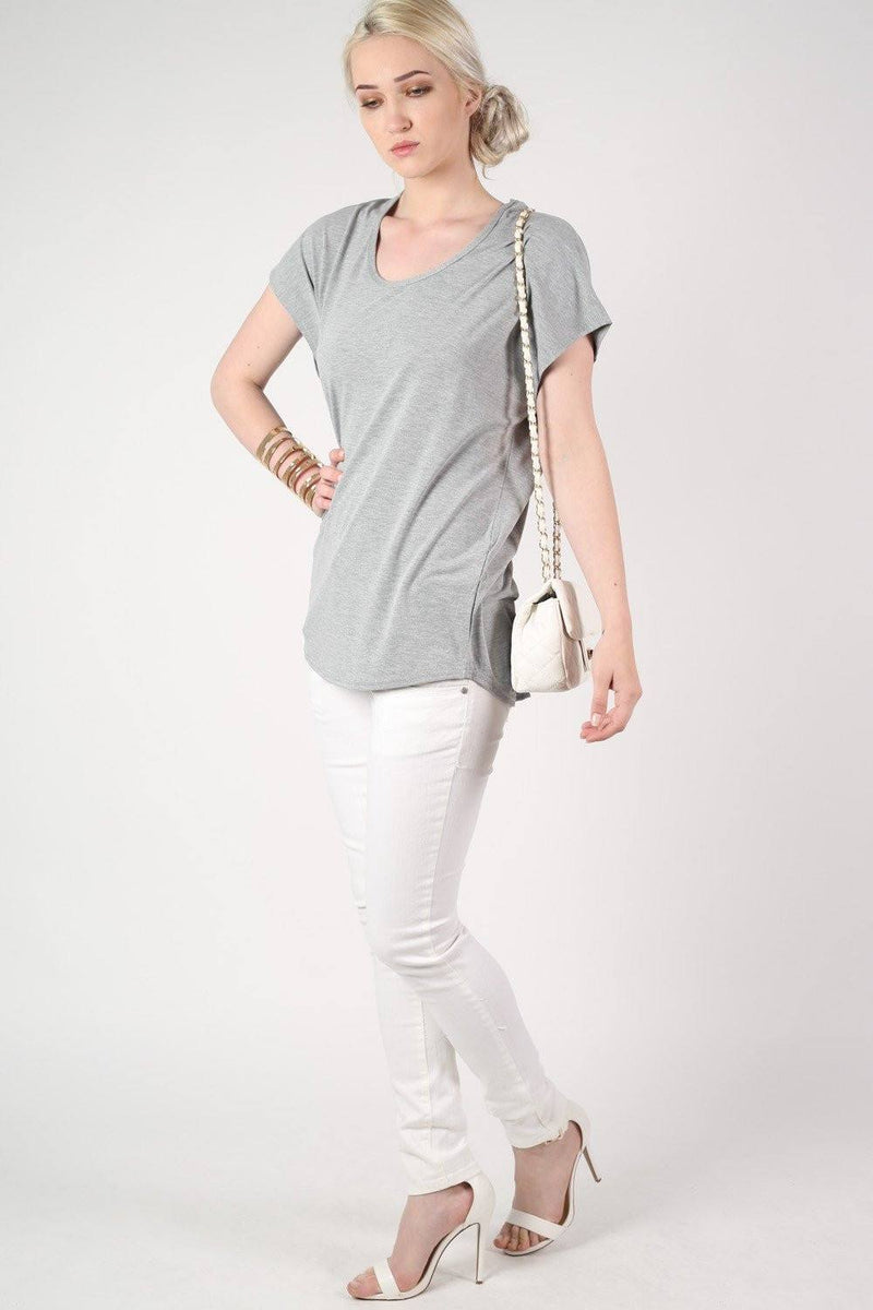 Oversized High Low Hem Top in Grey 4