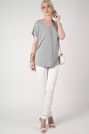 Oversized High Low Hem Top in Grey 5