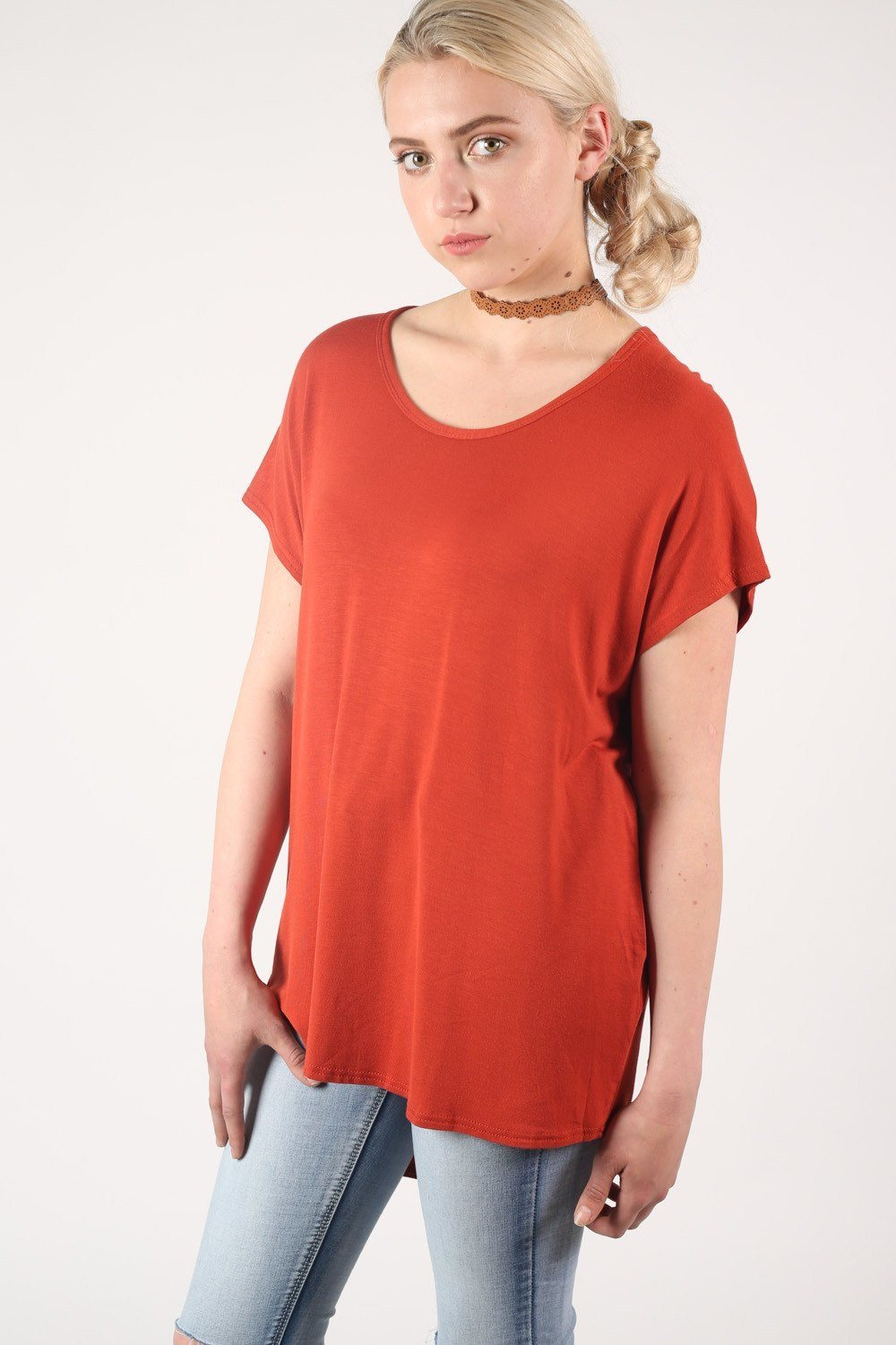 High Low Hem Plain Oversized Top in Rust Orange 0