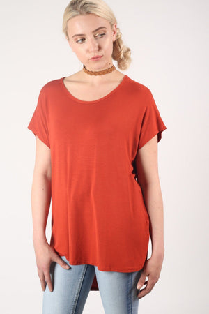 High Low Hem Plain Oversized Top in Rust Orange 1