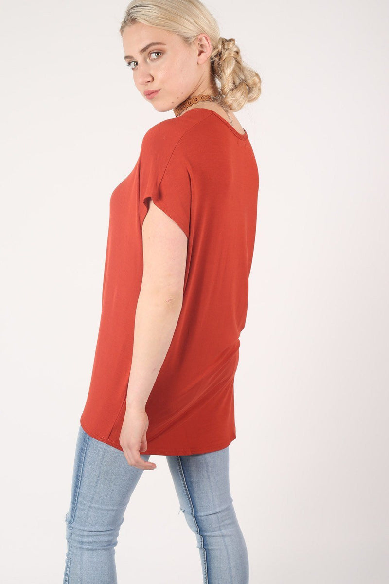 High Low Hem Plain Oversized Top in Rust Orange 3