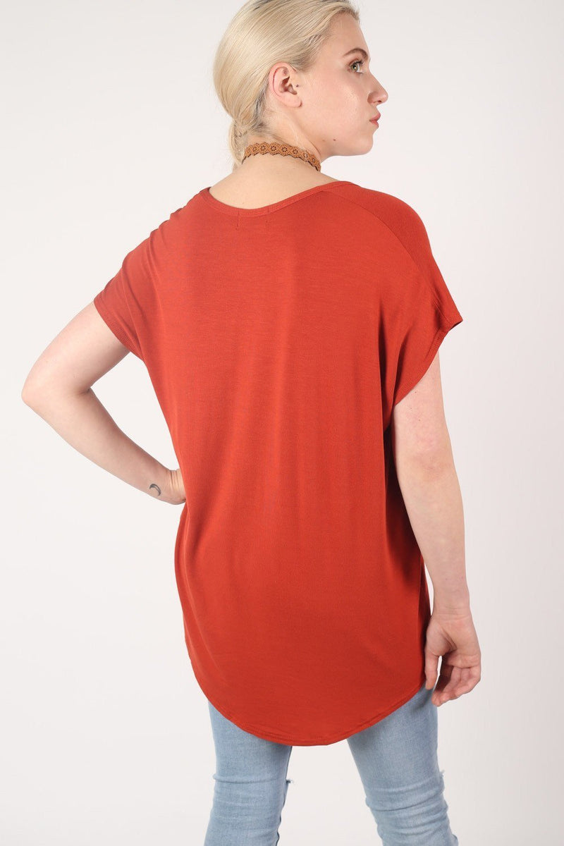 High Low Hem Plain Oversized Top in Rust Orange 4