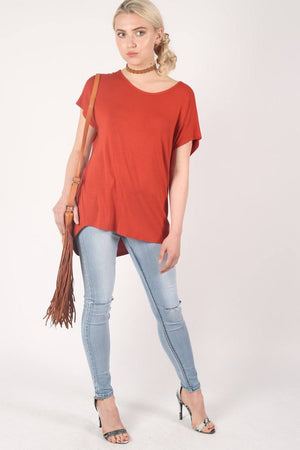 High Low Hem Plain Oversized Top in Rust Orange 5