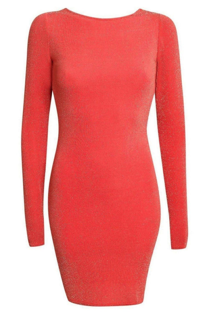 Long Sleeve Lurex Cowl Back Bodycon Dress in Coral 2