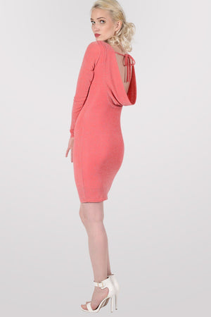 Long Sleeve Lurex Cowl Back Bodycon Dress in Coral 0