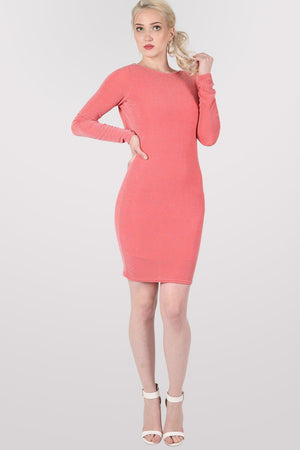 Long Sleeve Lurex Cowl Back Bodycon Dress in Coral 1