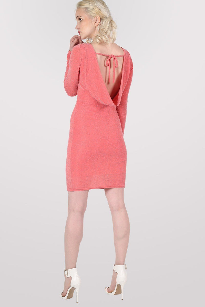 Long Sleeve Lurex Cowl Back Bodycon Dress in Coral 3