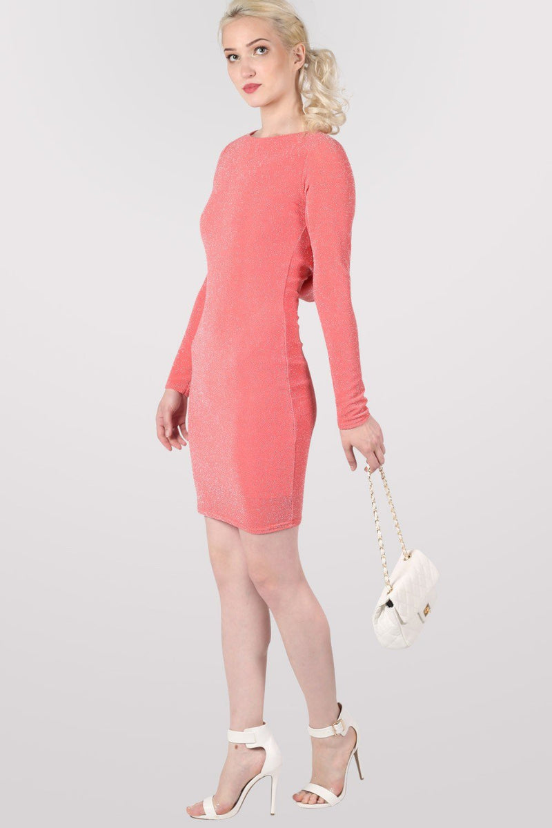 Long Sleeve Lurex Cowl Back Bodycon Dress in Coral 4