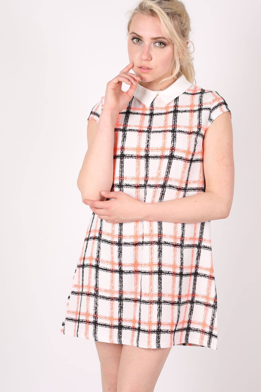 Contrast Collar Check Print Cap Sleeve Shift Dress in Cream 0
