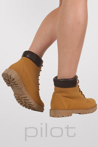 Lace Up Chukka Boots in Mustard Yellow 1