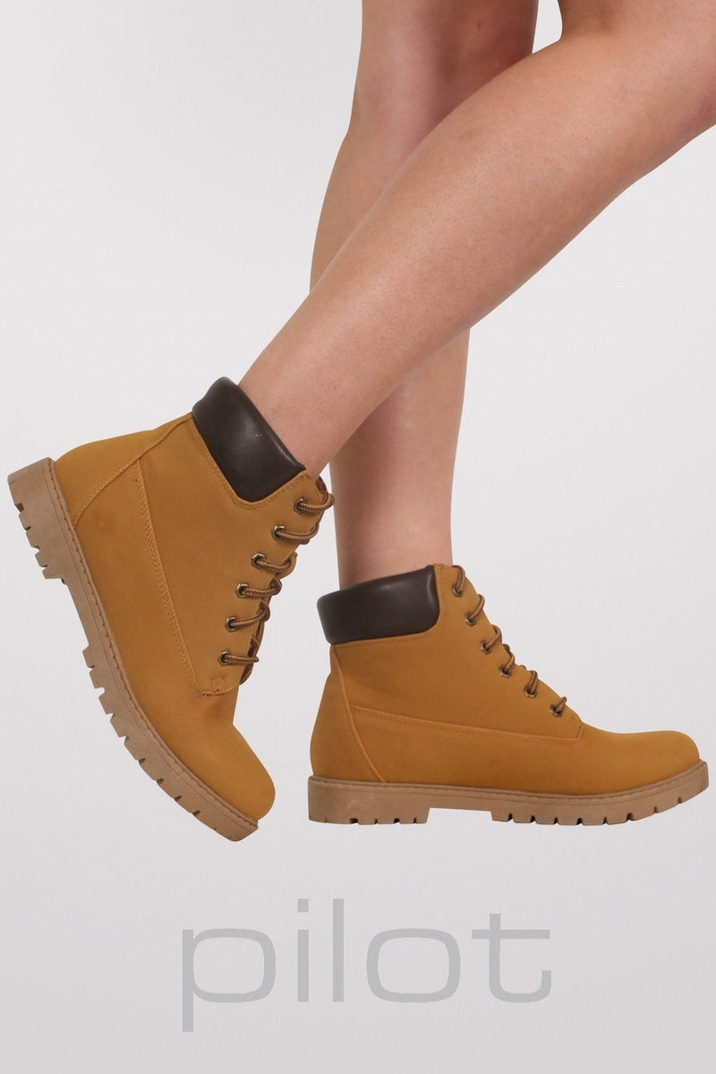 Lace Up Chukka Boots in Mustard Yellow 3