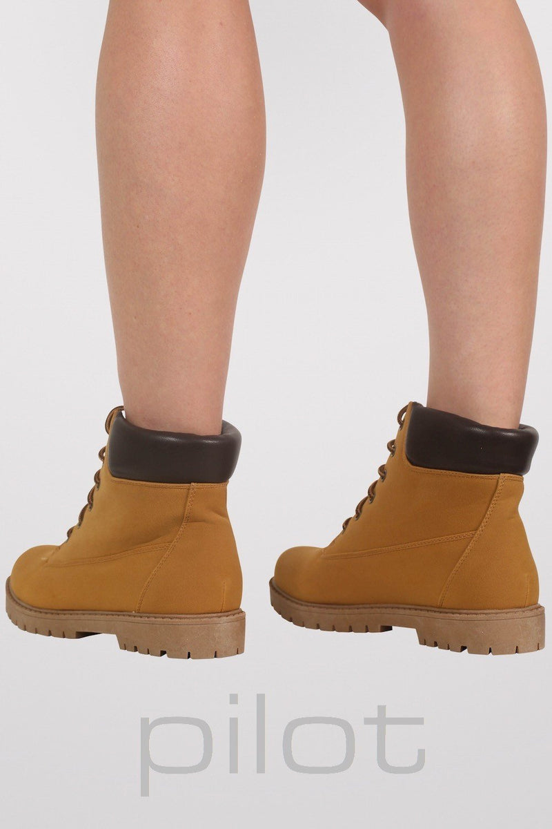 Lace Up Chukka Boots in Mustard Yellow 4