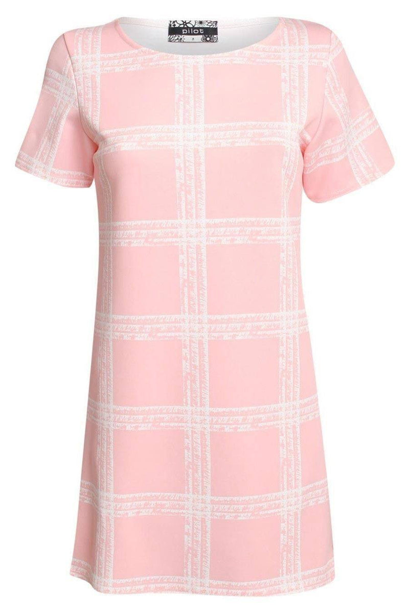 Check Cap Sleeve Shift Dress in Pale Pink 0