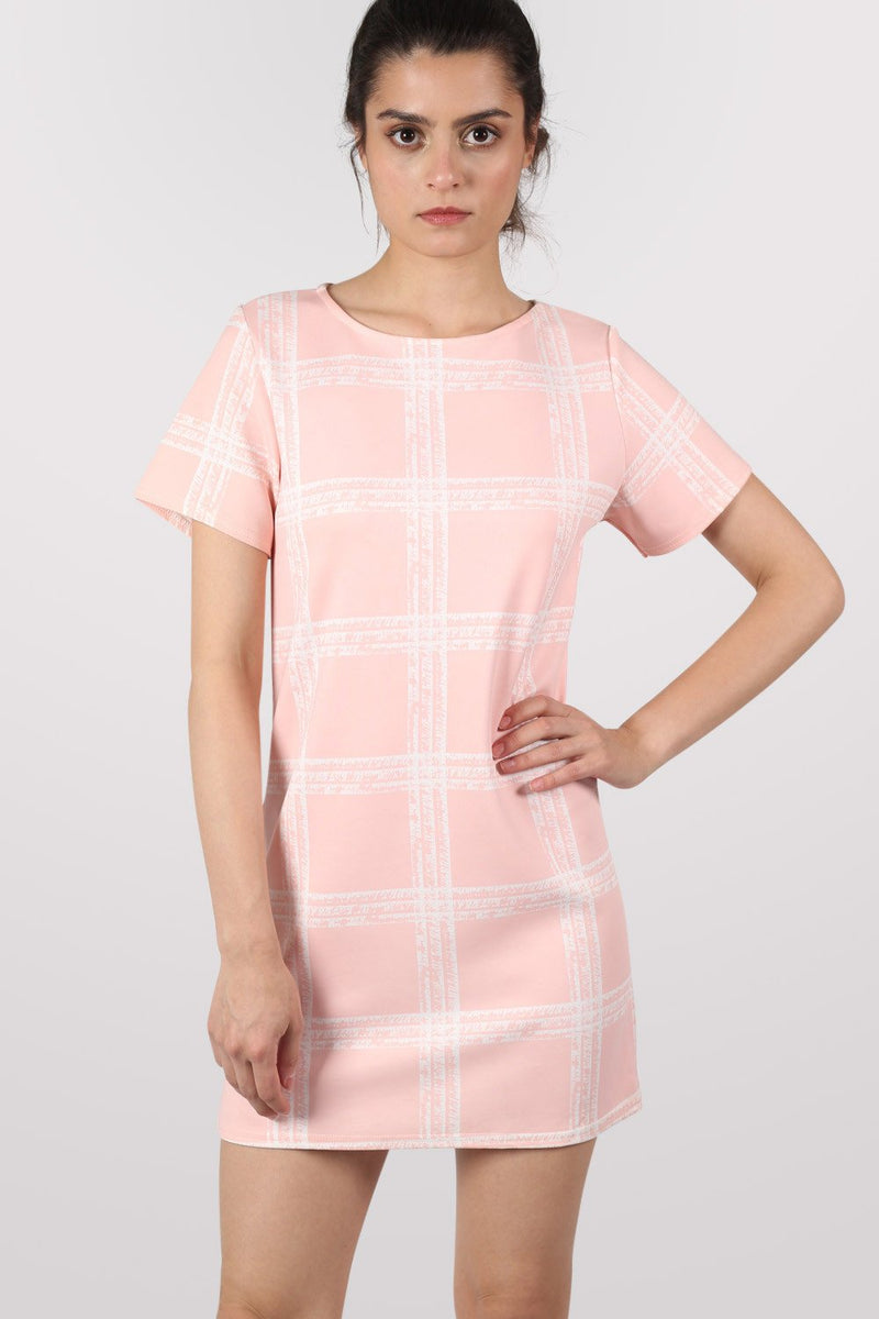 Check Cap Sleeve Shift Dress in Pale Pink MODEL FRONT 2