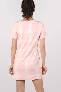 Check Cap Sleeve Shift Dress in Pale Pink MODEL SIDE