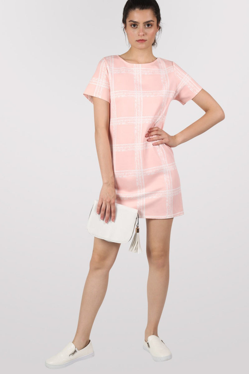 Check Cap Sleeve Shift Dress in Pale Pink MODEL FRONT 3