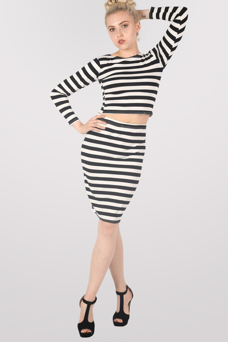 Ellie Stripe Midi Skirt in Black MODEL FRONT