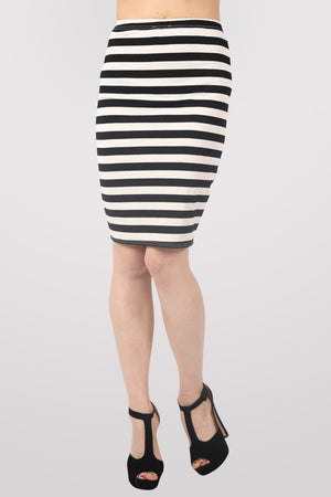 Ellie Stripe Midi Skirt in Black MODEL FRONT 2