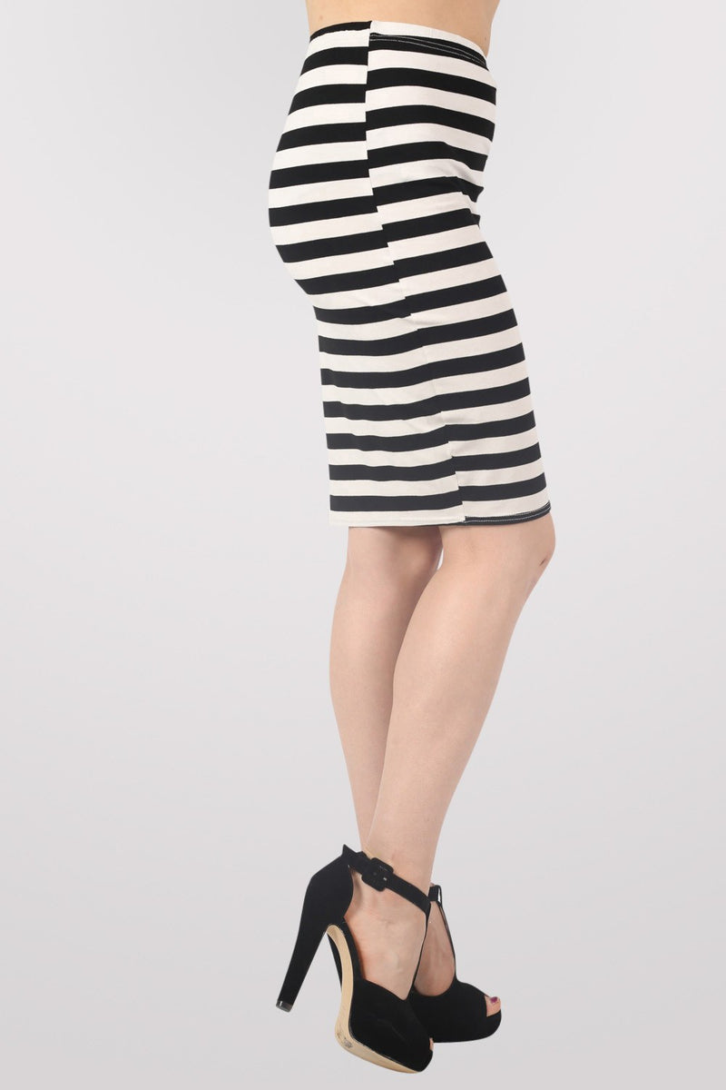 Ellie Stripe Midi Skirt in Black MODEL SIDE