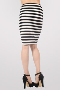 Ellie Stripe Midi Skirt in Black MODEL BACK