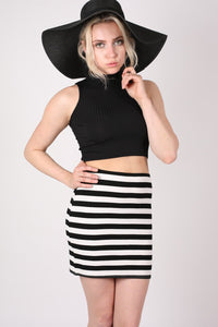 Stripe Mini Skirt in Black MODEL FRONT