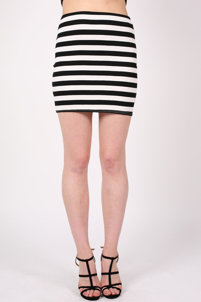 Stripe Mini Skirt in Black MODEL FRONT 2
