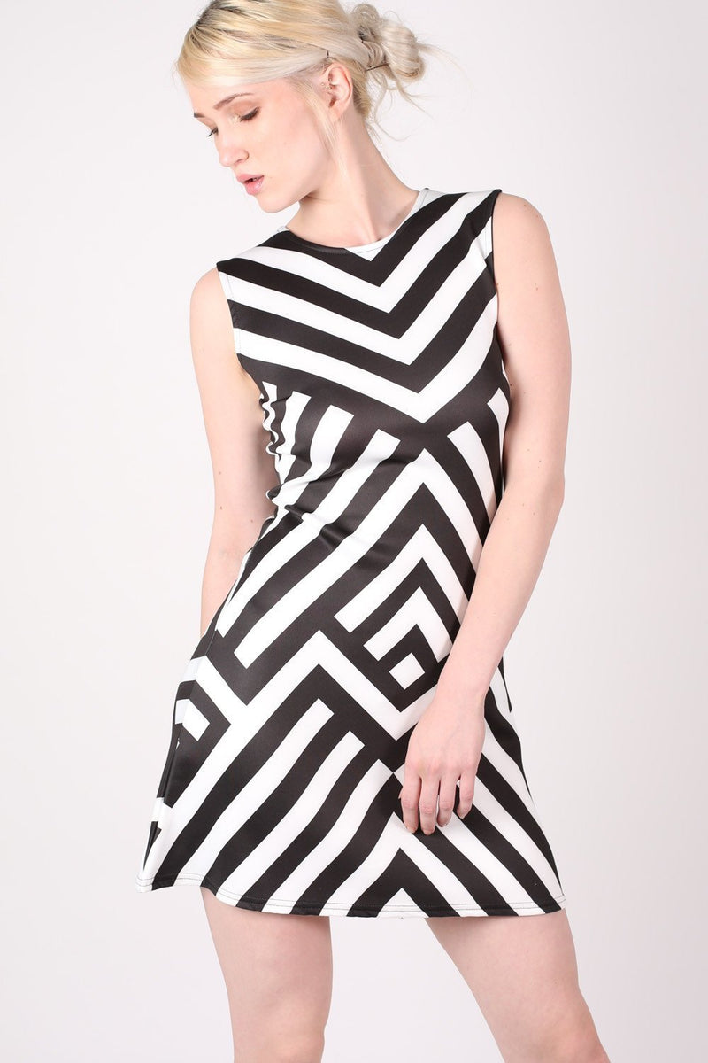 Geometric Stripe Sleeveless Fit And Flare Dress in Black MODEL FRONT