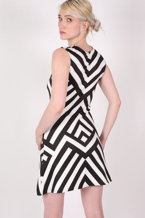 Geometric Stripe Sleeveless Fit And Flare Dress in Black MODEL BACK