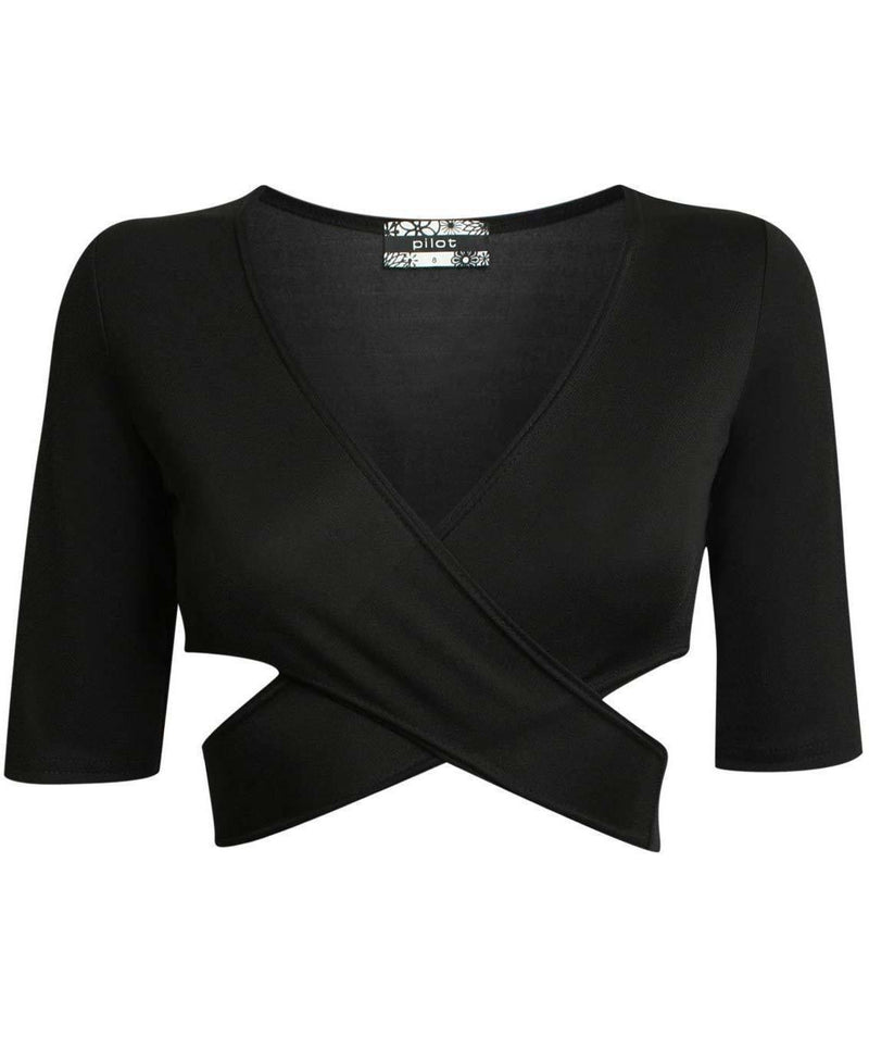 Half Sleeve Cross Front Crop Top in Black 2