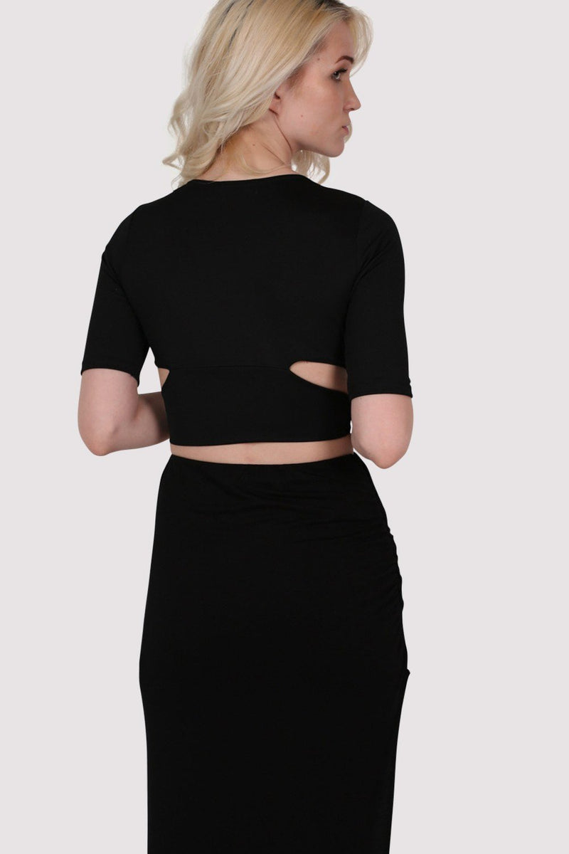 Half Sleeve Cross Front Crop Top in Black 4