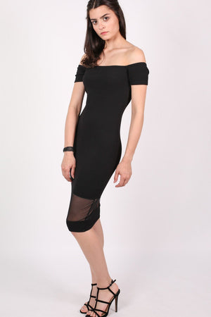Bardot Mesh Trim Detail Bodycon Dress in Black 3
