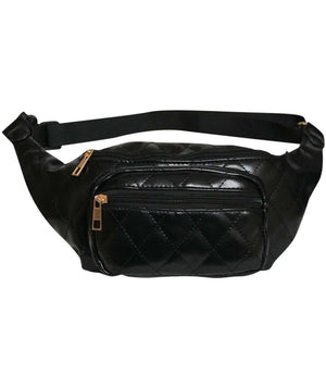 Quilted PU Bum Bag in Black 3