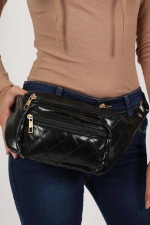 Quilted PU Bum Bag in Black 0