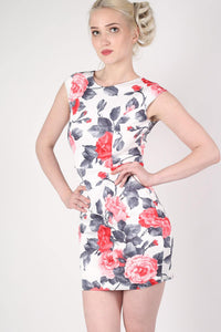 Floral Bow Cut Out Detail Back Bodycon Dress in White MODEL FRONT 2