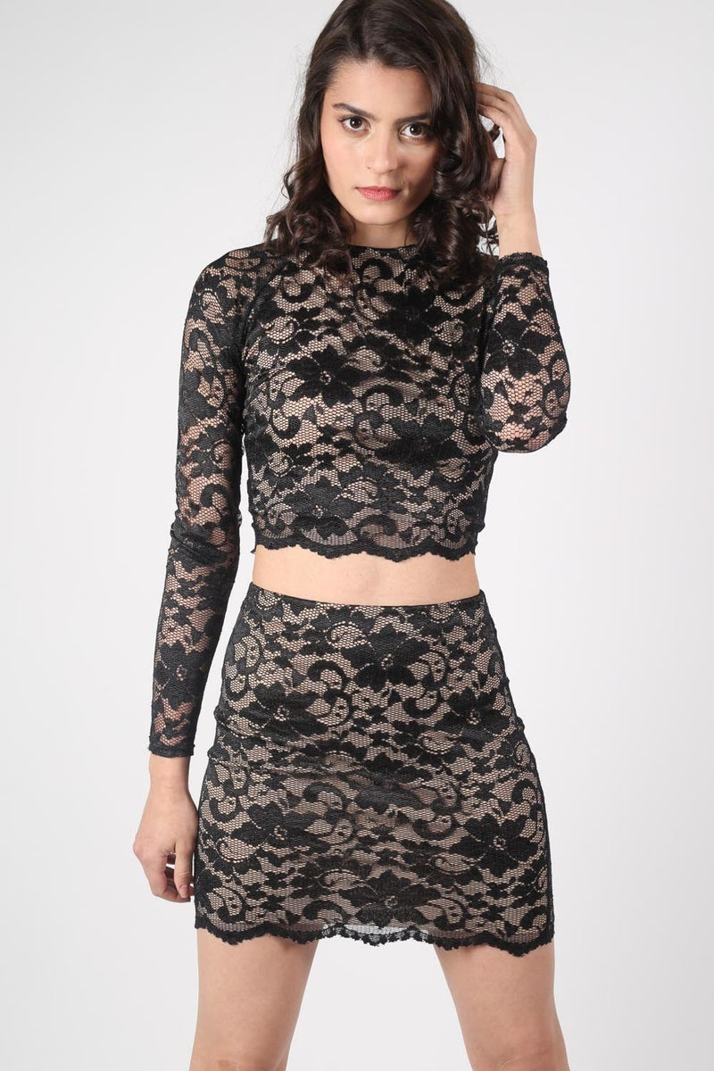 Long Sleeve Scallop Edge Lace Crop Top in Black MODEL FRONT 2