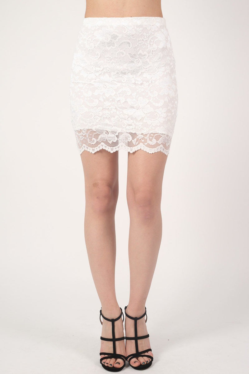 Scallop Edge Lace Mini Skirt in Cream 1