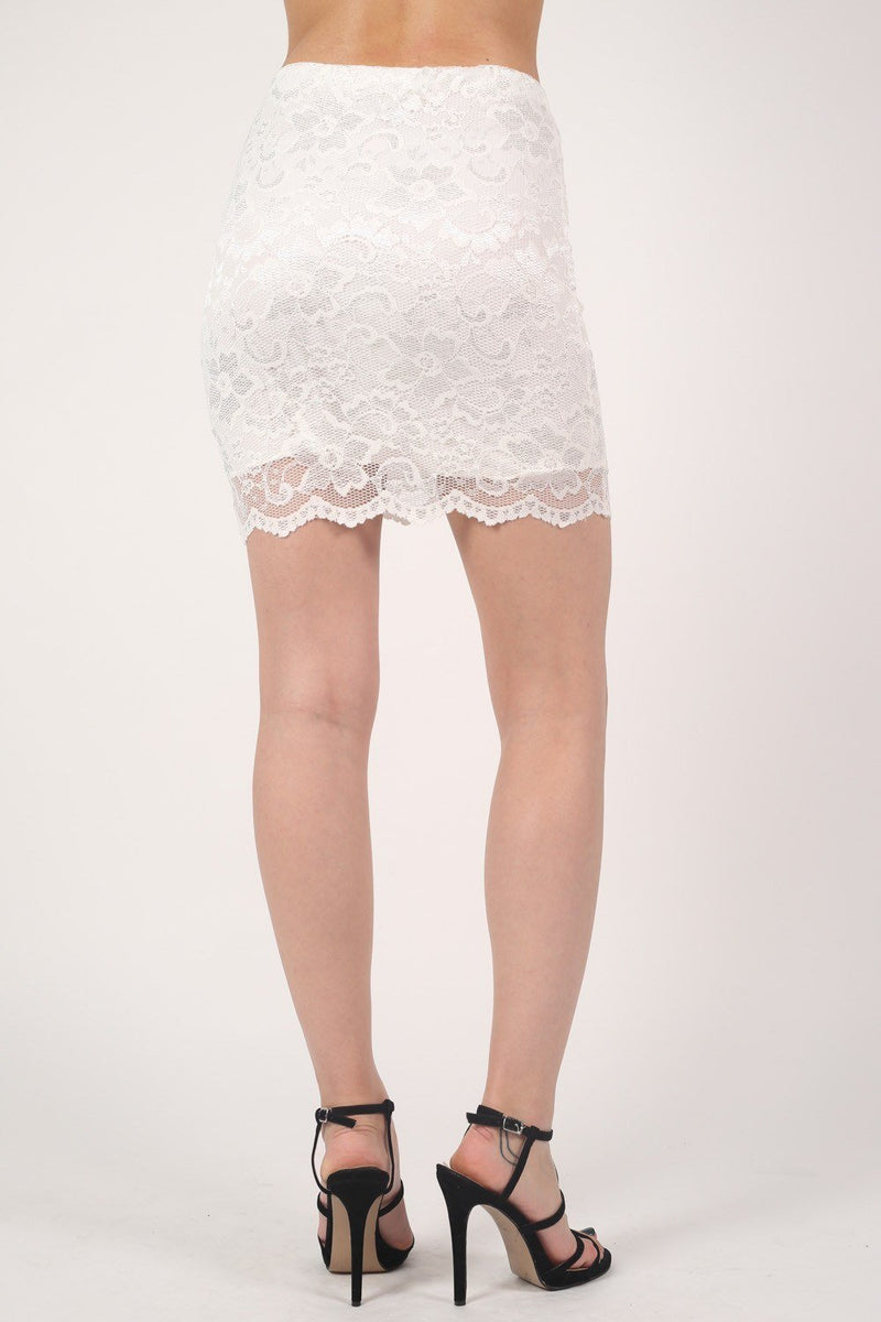 Scallop Edge Lace Mini Skirt in Cream 4