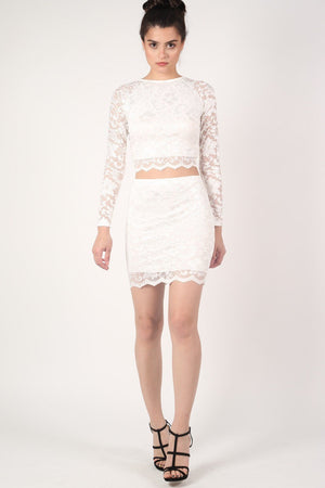 Scallop Edge Lace Mini Skirt in Cream 5