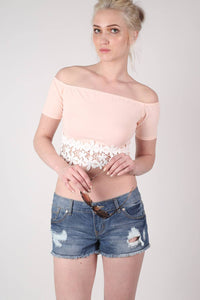 Crochet Trim Bardot Crop Top in Nude MODEL FRONT
