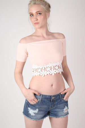 Crochet Trim Bardot Crop Top in Nude MODEL FRONT 2