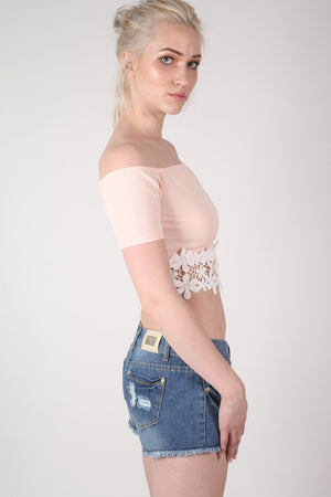 Crochet Trim Bardot Crop Top in Nude MODEL SIDE