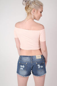 Crochet Trim Bardot Crop Top in Nude MODEL BACK