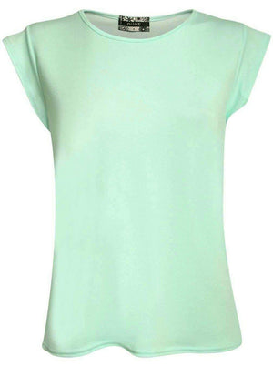 Fluted Cap Sleeve Top in Mint Green 2