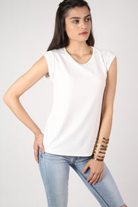 Fluted Cap Sleeve Top in Cream 1