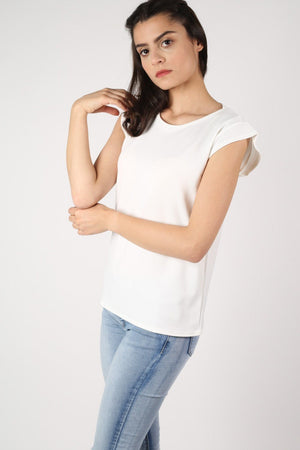 Fluted Cap Sleeve Top in Cream 2